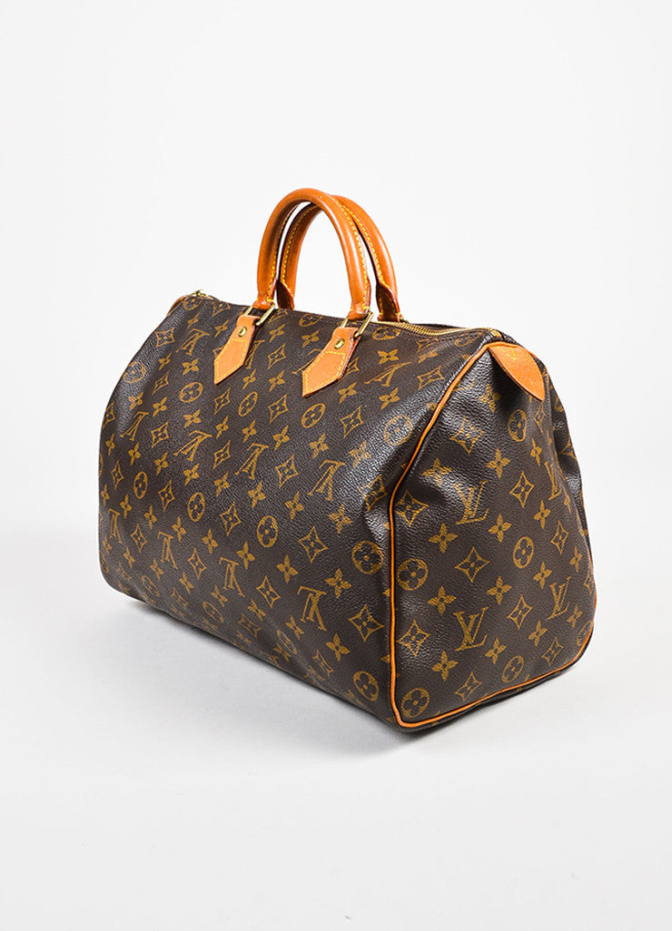 "Louis Vuitton Brown and Tan Coated Canvas Leather Monogram ""Speedy 35"" Bag Sideview"
