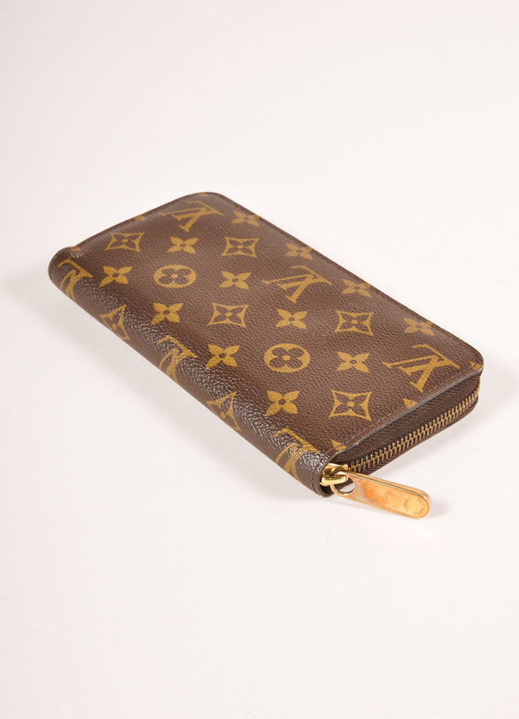 Louis Vuitton Brown and Tan Coated Canvas Monogram Rectangular Zip Wallet Sideview