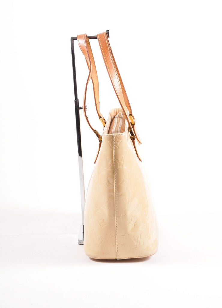"Louis Vuitton Cream Monogram Vernis ""Houston"" Tote Bag Sideview"