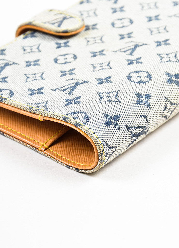 "Louis Vuitton Grey and Blue Canvas Monogram ""Mini Lin Small Agenda"" Cover Detail"