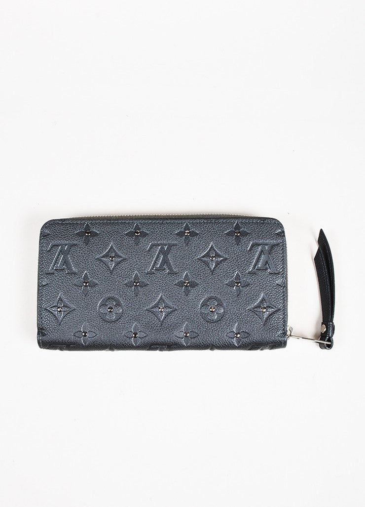 "Louis Vuitton Grey Monogram Empreinte Leather Studded Monogram ""Zippy"" Wallet Backview"
