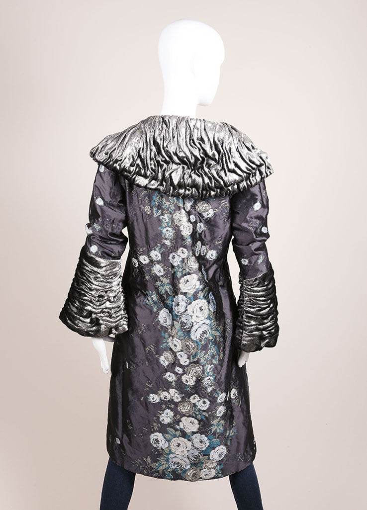 Luisa Beccaria Grey, Silver, and White Floral Embroidered Textured Trim Coat Backview