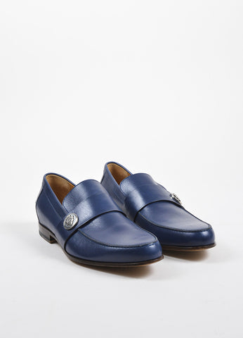 Men's Gucci Blue Leather Logo Medallion Loafers Front