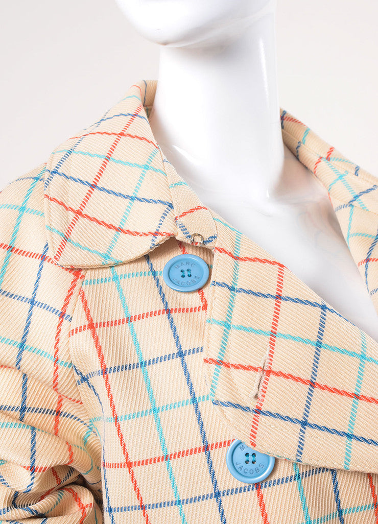 Marc Jacobs Cream, Red, and Blue Check Long Coat Detail