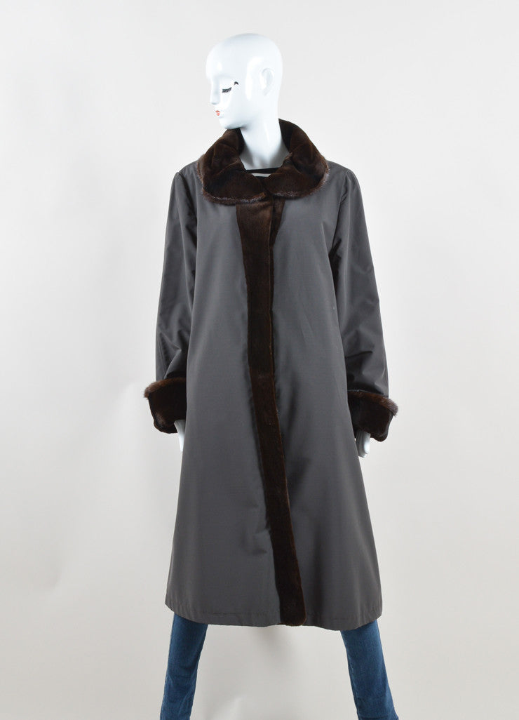 Maximilian Alta Moda Brown Sheared Mink Reversible Coat Front 2