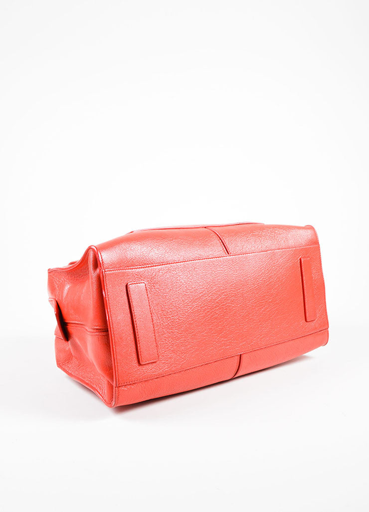 Red Leather Narciso Rodriguez Medium Bowler Tote Bag Bottom View