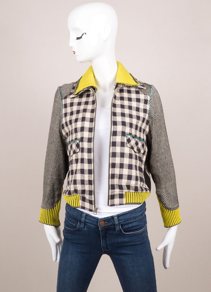 Opening Ceremony Tan, Black, and Neon Lime Checkered Colorblock Bomber Jacket Frontview