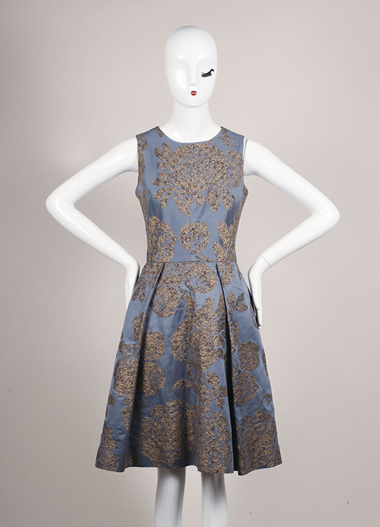 Oscar de la Renta Grey, Blue, and Tan Cotton Embroidered Sleeveless A-Line Dress Frontview