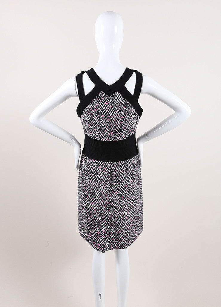 Oscar de la Renta New With Tags Black, White, and Pink Chevron Splatter Print Dress Backview
