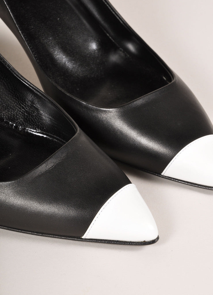 Pierre Hardy New In Box Black and White Leather Colorblock Pointed Toe Heels Detail