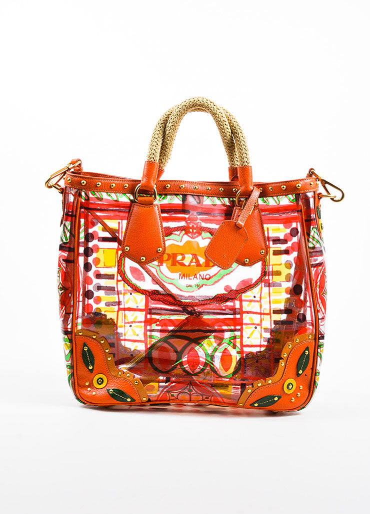 "Orange and Multicolor Prada Leather and PVC Floral Crossbody ""Plex Stampato"" Tote Bag Frontview"