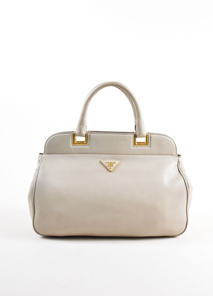 Prada Grey and Gold Toned Leather Top Handle Bag Frontview