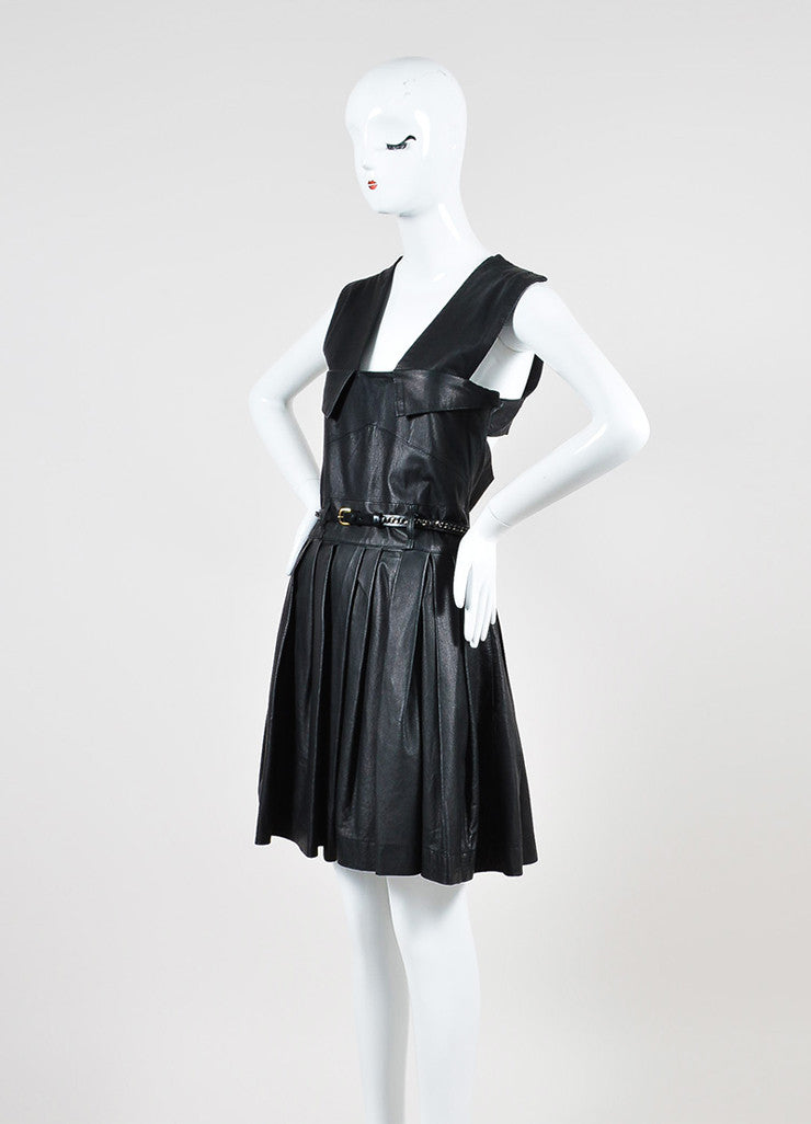 "Preen Line ""Simone"" Black Leather Pleated Belted Overall Dress Sideview"