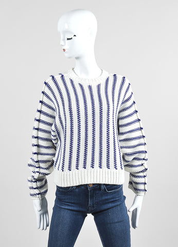 Cream and Navy T by Alexander Wang Chunky Knit Striped Sweater Frontview