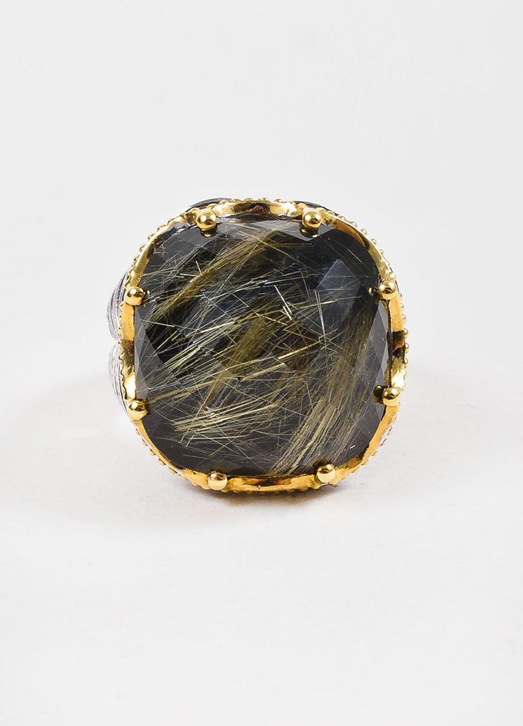 Tacori Sterling Silver, 18k Gold, Rutilated Quartz, and Black Onyx Ring Frontview