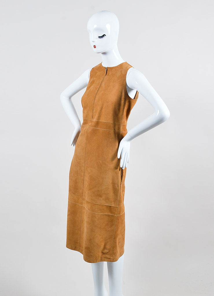"The Row Sugar Cane Tan Suede Zipper Zip ""Stroner"" Sleeveless Shift Dress Sideview"