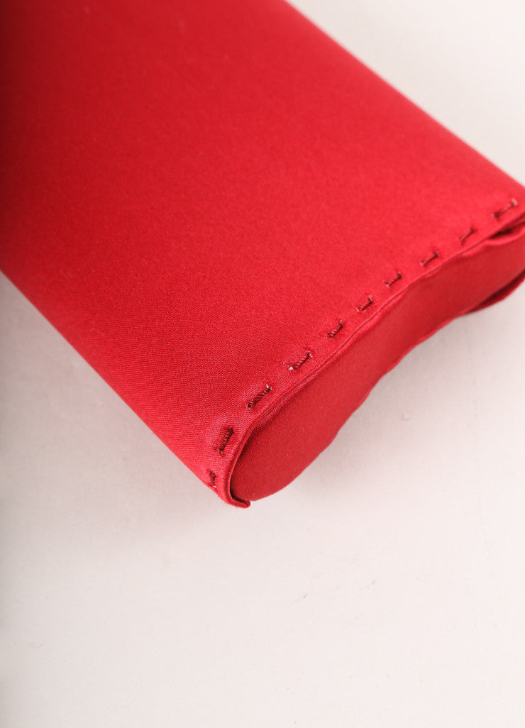 "VBH Red Stitched Satin ""Manila"" Long Clutch Bag Detail"