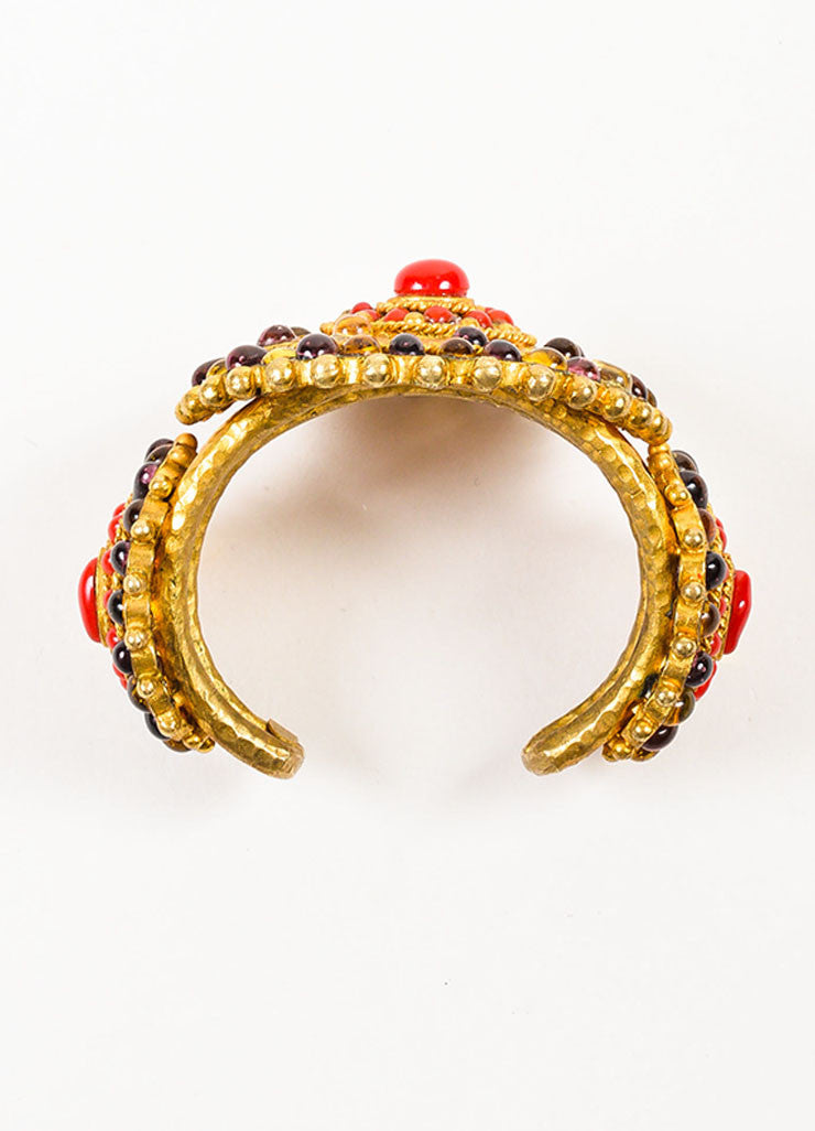 Chanel Gold Toned, Red, and Purple Gripoix Glass Medallion Cuff Bracelet Topview