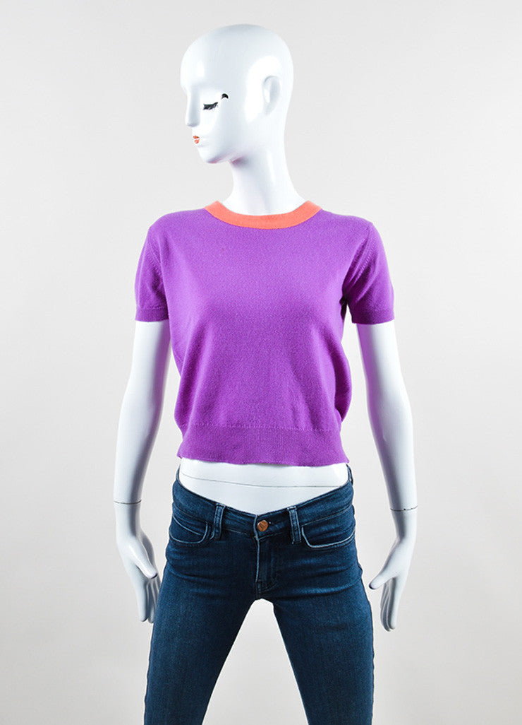 Chanel Purple and Coral Cashmere Two Piece Sweater Set Top