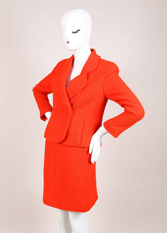 Chanel Orange Boucle Skirt Suit Sideview