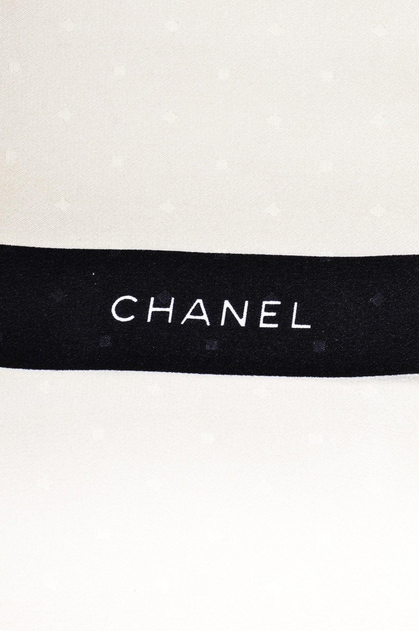 Chanel Cream and Black Textured Silk Bow Print Long Scarf Brand