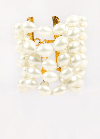 Chanel Gold Toned Cream Faux Pearl Embellished Multi Strand Bracelet Front