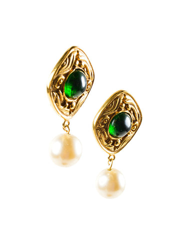 Gold Toned and Green Chanel Poured Glass Faux Pearl Drop Earrings Sideview