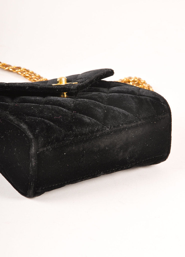 "Chanel Black and Gold Toned Quilted Velvet ""CC"" Turnlock Chain Strap Mini Flap Bag Bottom View"