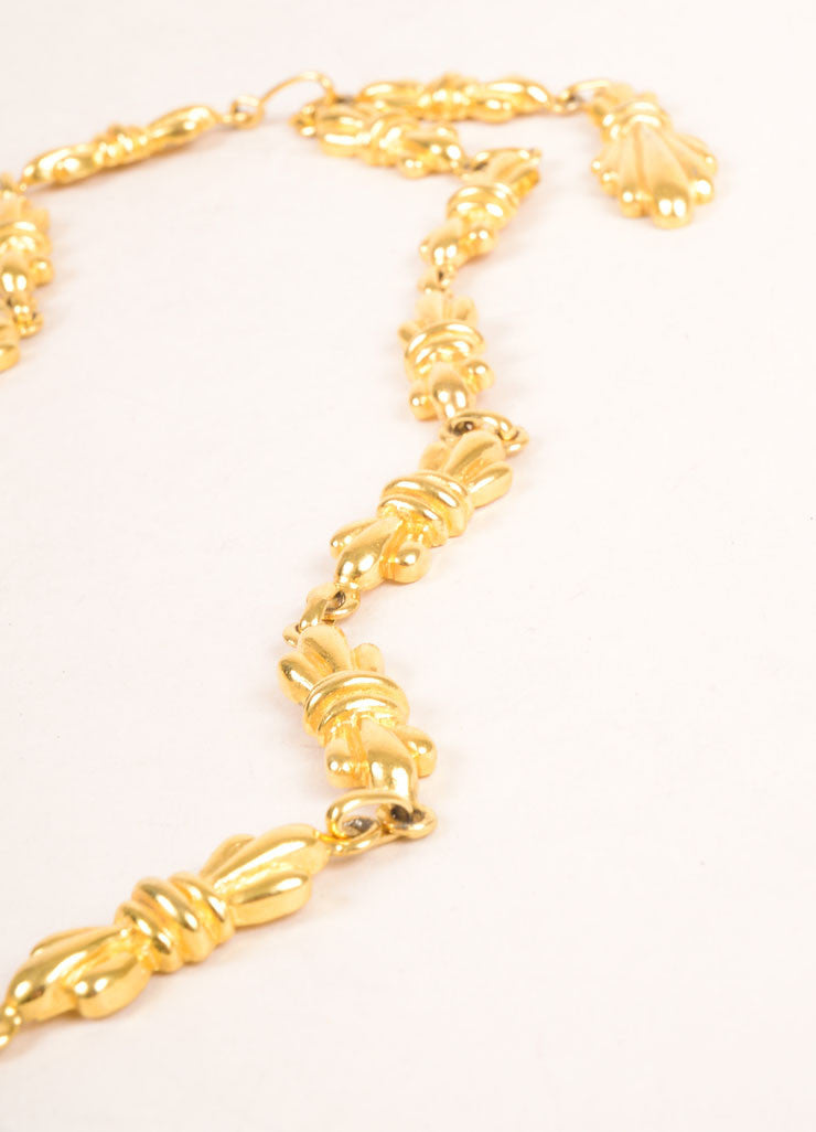 Mimi Di N Gold Toned Link Bow Chain Necklace Detail 3