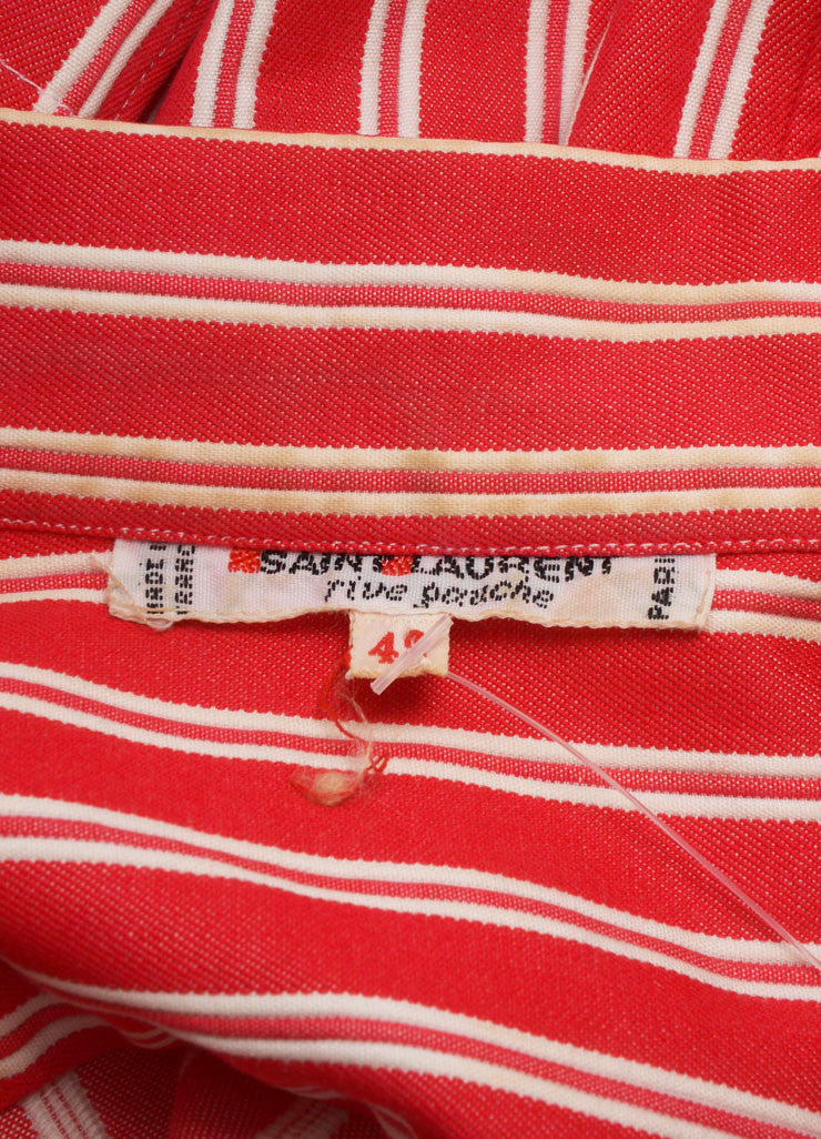 Saint Laurent Red and White Twill Knit Pinstripe Button Up Shirt Brand