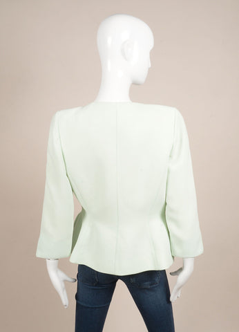 Thierry Mugler Mint Green Structured Long Sleeve Jacket Backview