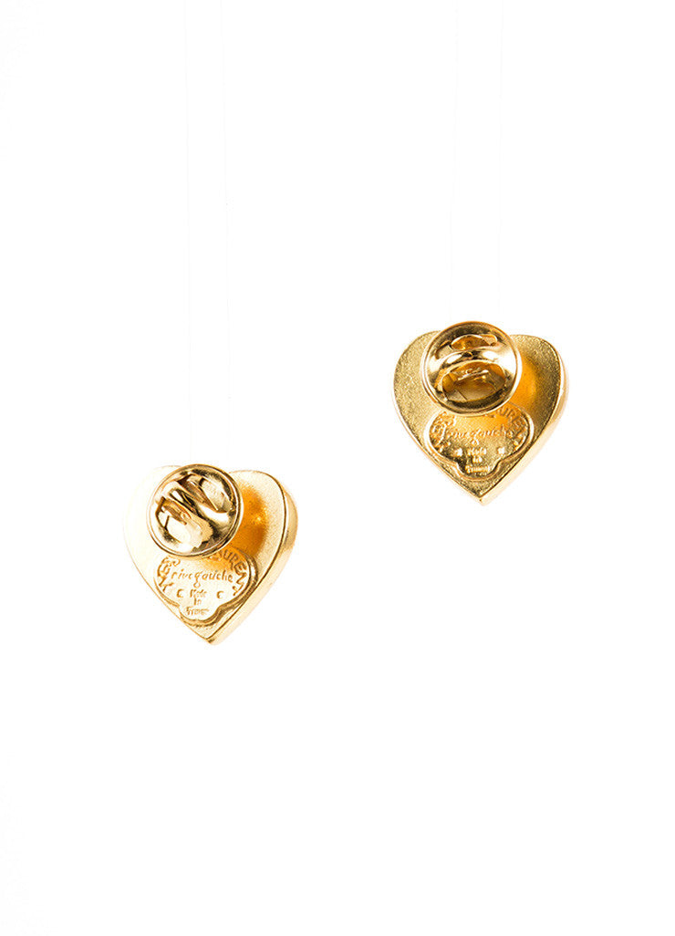 Yves Saint Laurent Gold Toned and Red Asymmetrical Heart Post Earrings Backview