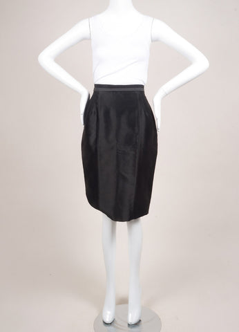 Valentino New With Tags Black Dot Stitch Wool and Silk Blend Pencil Skirt Frontview