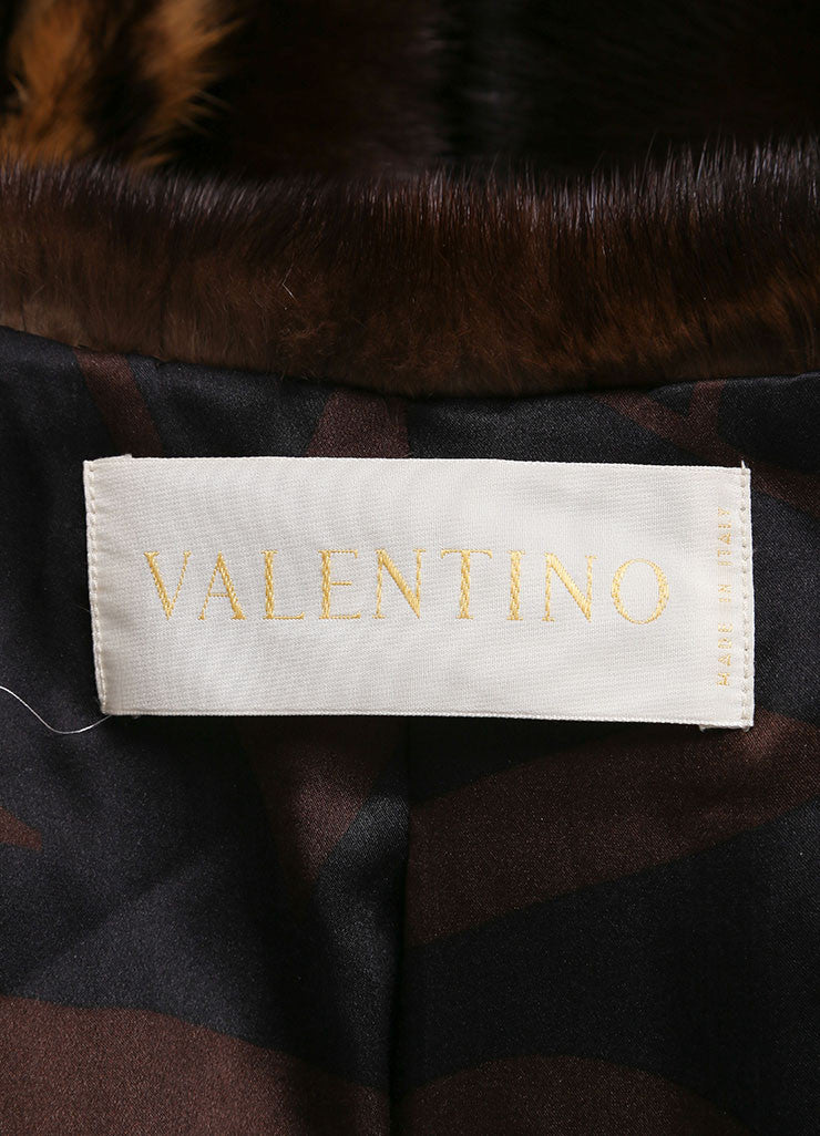 Valentino Tan and Brown Mink Trim Leopard Print Long Sleeve Coat Brand