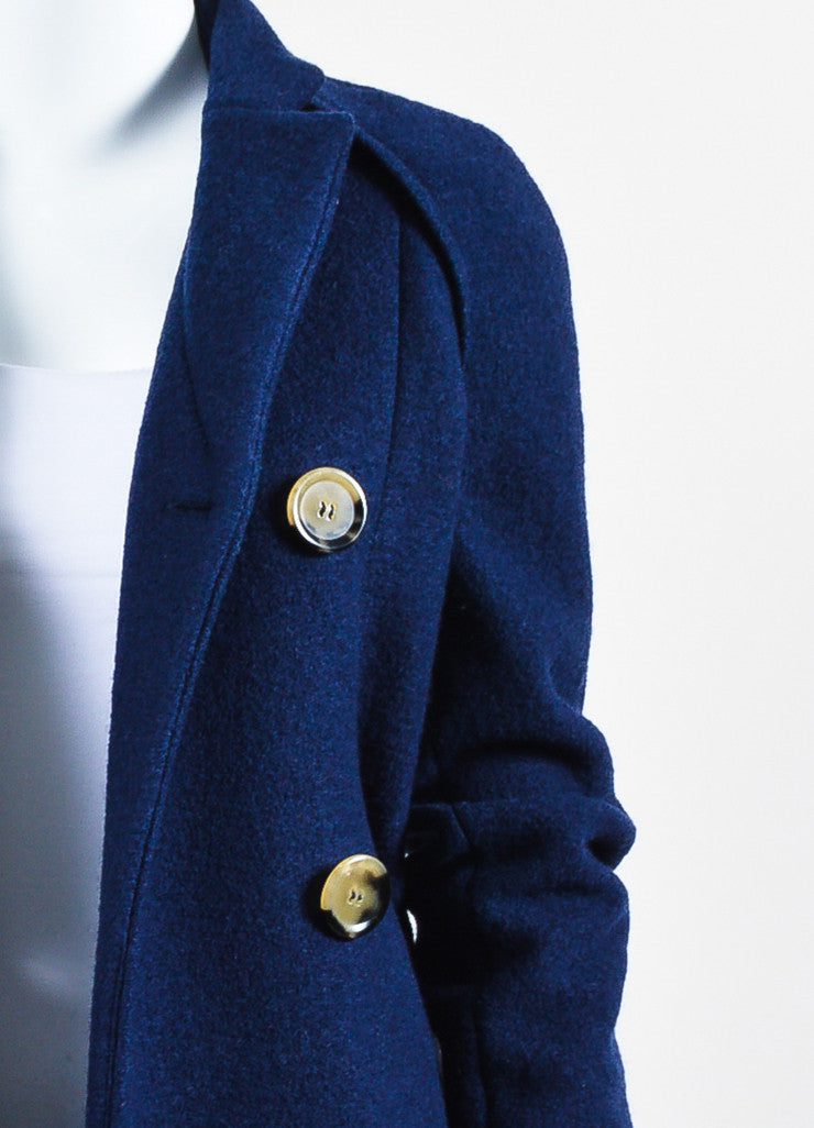 Navy Blue Victoria Beckham Wool Double Breasted Coat Detail