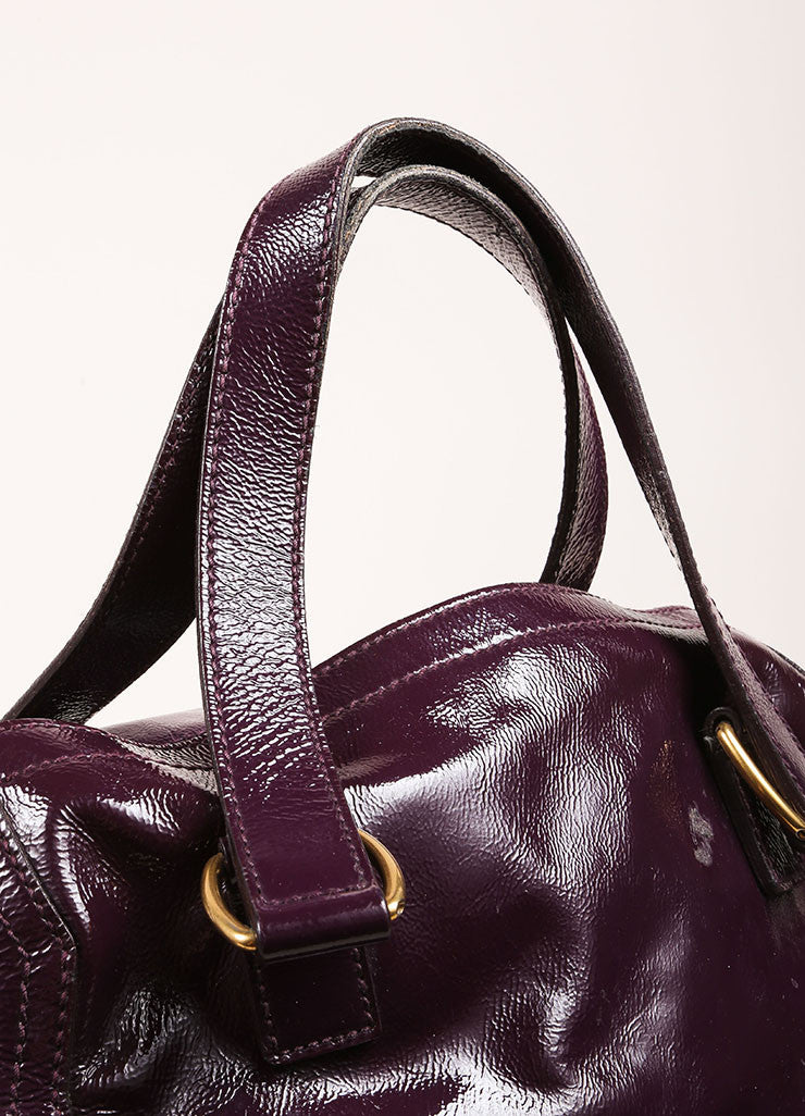 "Yves Saint Laurent Purple Patent Leather Textured ""Downtown"" Tote Bag Detail 2"