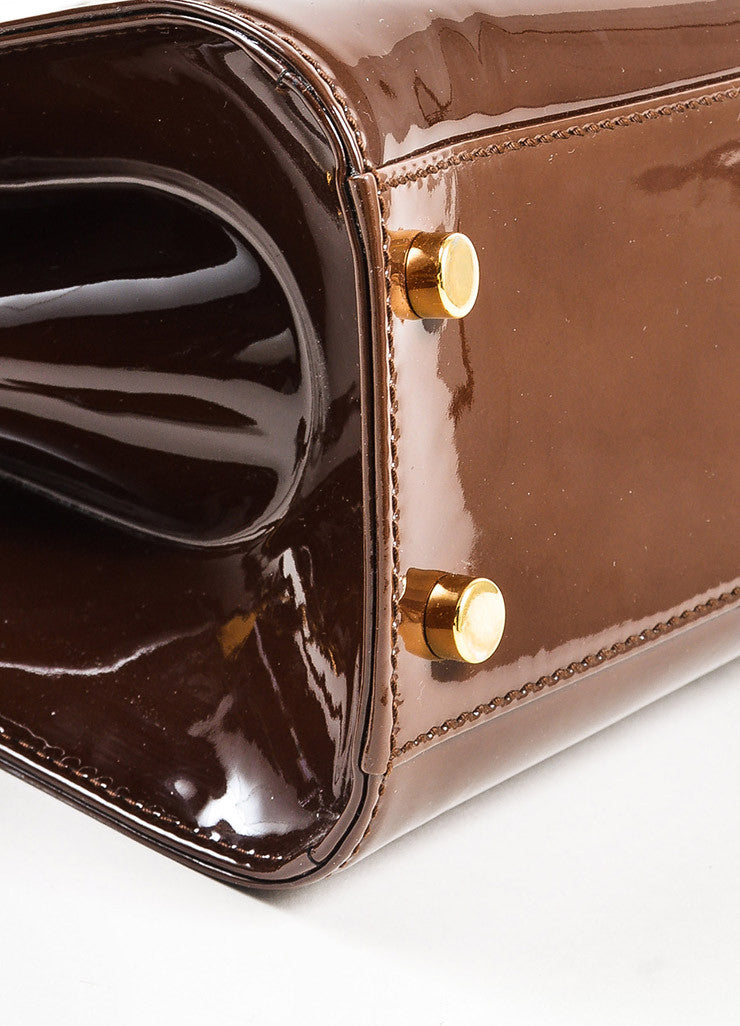 "Yves Saint Laurent Rive Gauche Brown Patent Leather ""Small Uptown"" Frame Bag Detail"