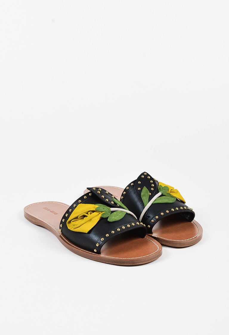 93be53f551be3 Miu Miu Black Yellow Green Leather Suede Flower Studded Slide Sandal - 2