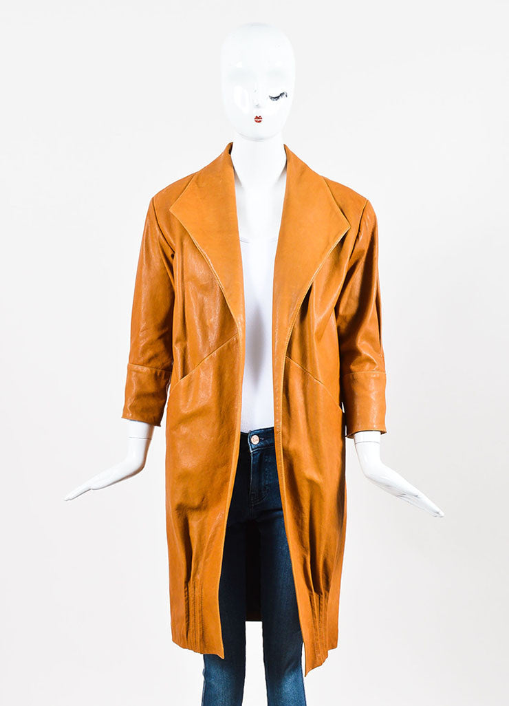 Jenni Kayne Camel Grain Leather Long Sleeve Wing Collar Overcoat Frontview