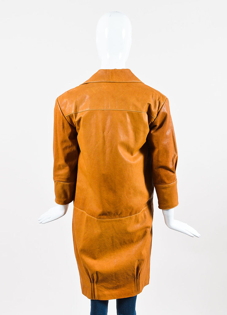 Jenni Kayne Camel Grain Leather Long Sleeve Wing Collar Overcoat Backview