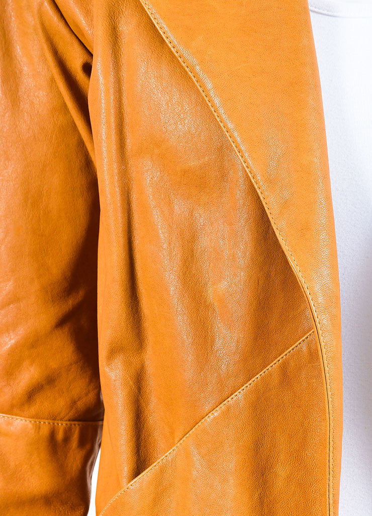 Jenni Kayne Camel Grain Leather Long Sleeve Wing Collar Overcoat Detail