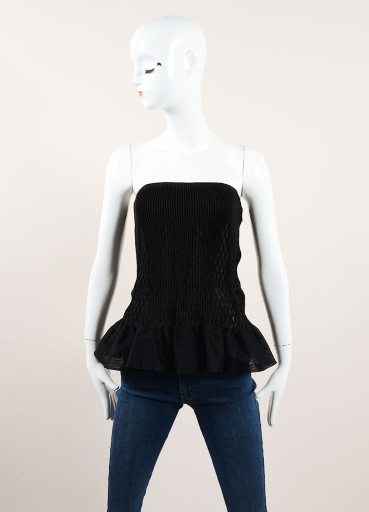 Alaia Black Textured Ribbed Pleated Peplum Strapless Corset Top Frontview