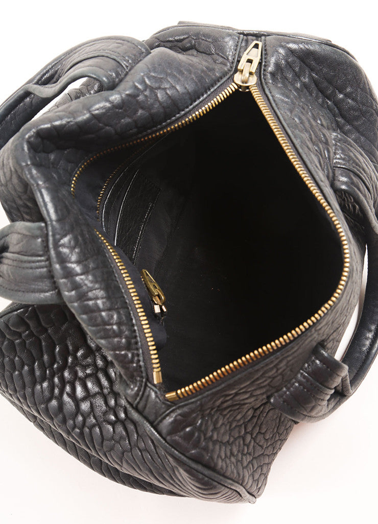 "Alexander Wang Black Pebbled Leather Gold Toned Studded ""Rocco"" Duffel Bag Interior"