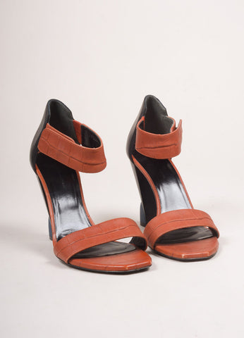 Balenciaga Burnt Orange and Black Leather Embossed Sandal Heels  Frontview