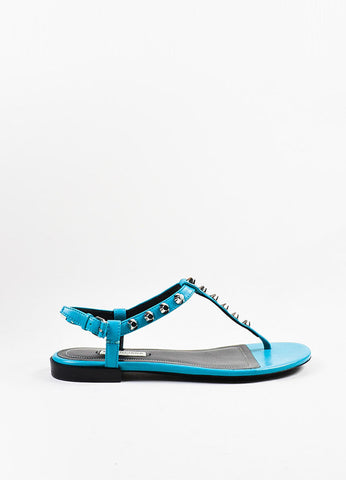 Balenciaga Teal Blue Leather Studded Ankle Strap Thong Gladiator Sandals Sideview