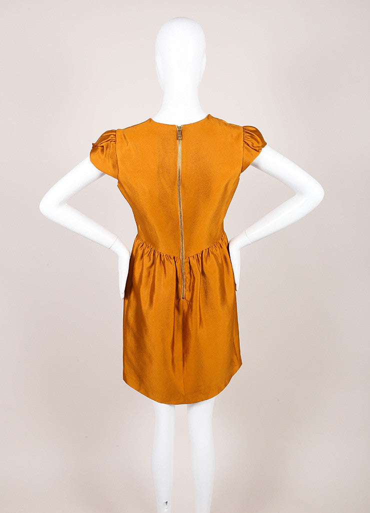 Burberry New With Tags Burnt Orange Silk and Wool Blend Metallic Cap Sleeve Dress Backview