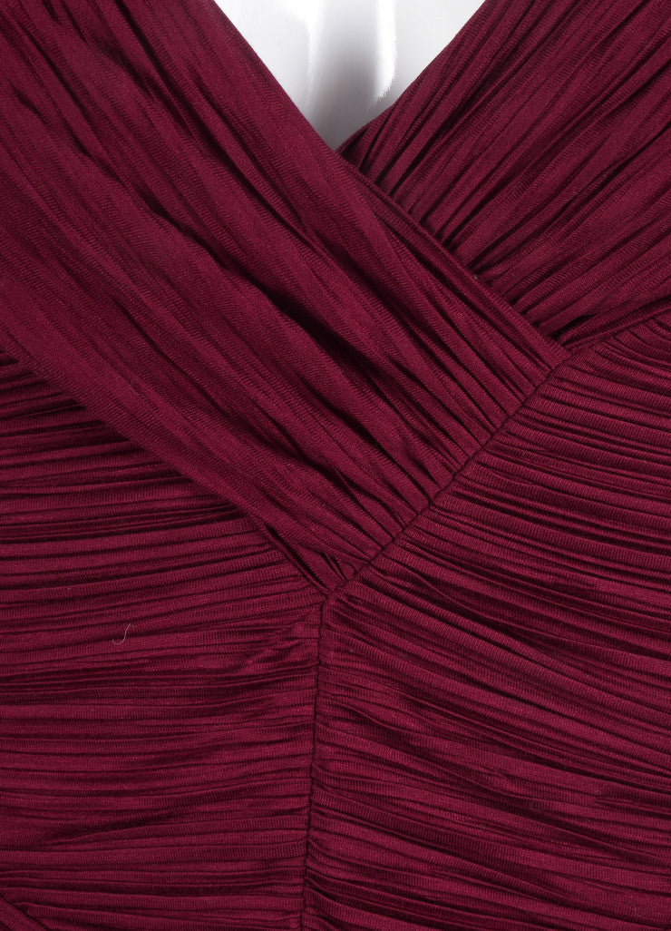 New With Tags Burgundy Jersey Ruched Pleated Crop Sleeve Dress