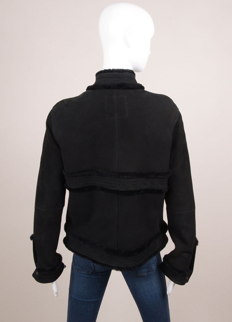 Chanel Black Suede Leather Fur Trim Long Sleeve Coat Backview