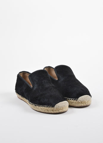 Celine Black Pony Hair Notched Vamp Espadrille Loafers  Frontview