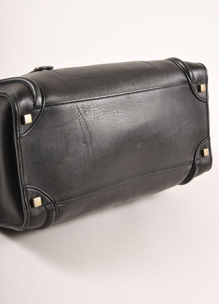 "Celine Black Leather ""Luggage"" Shopper Tote Bag Bottom View"